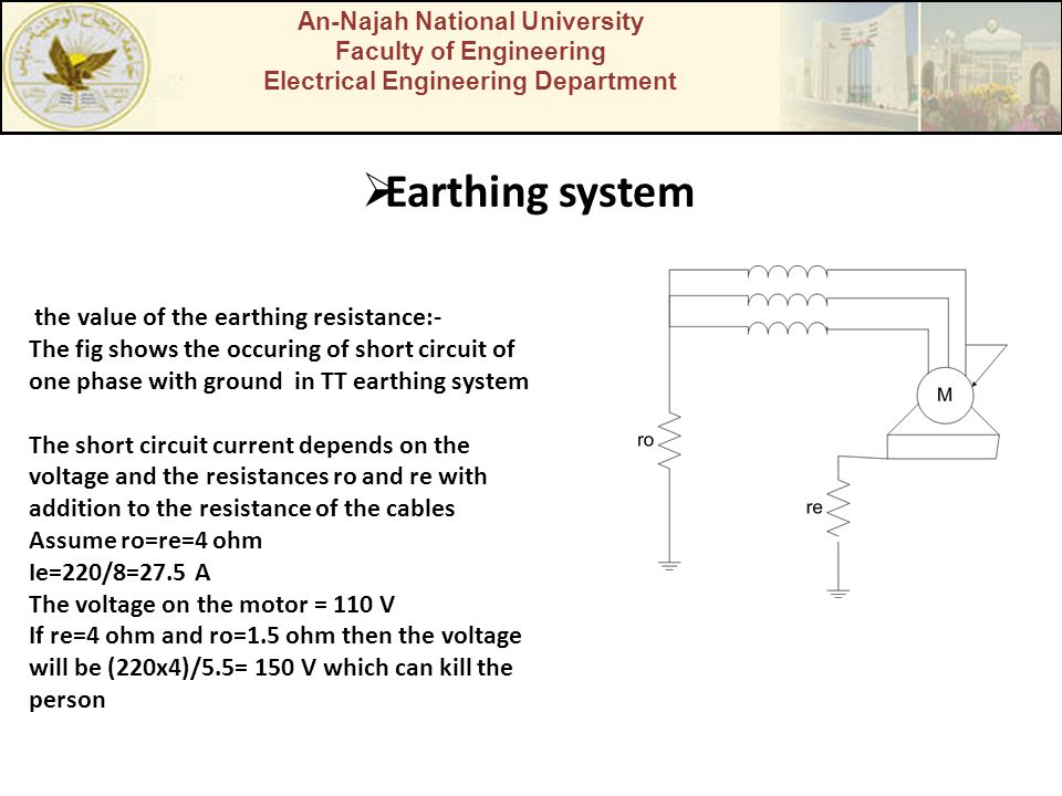 Earthing system the value of the earthing resistance:-