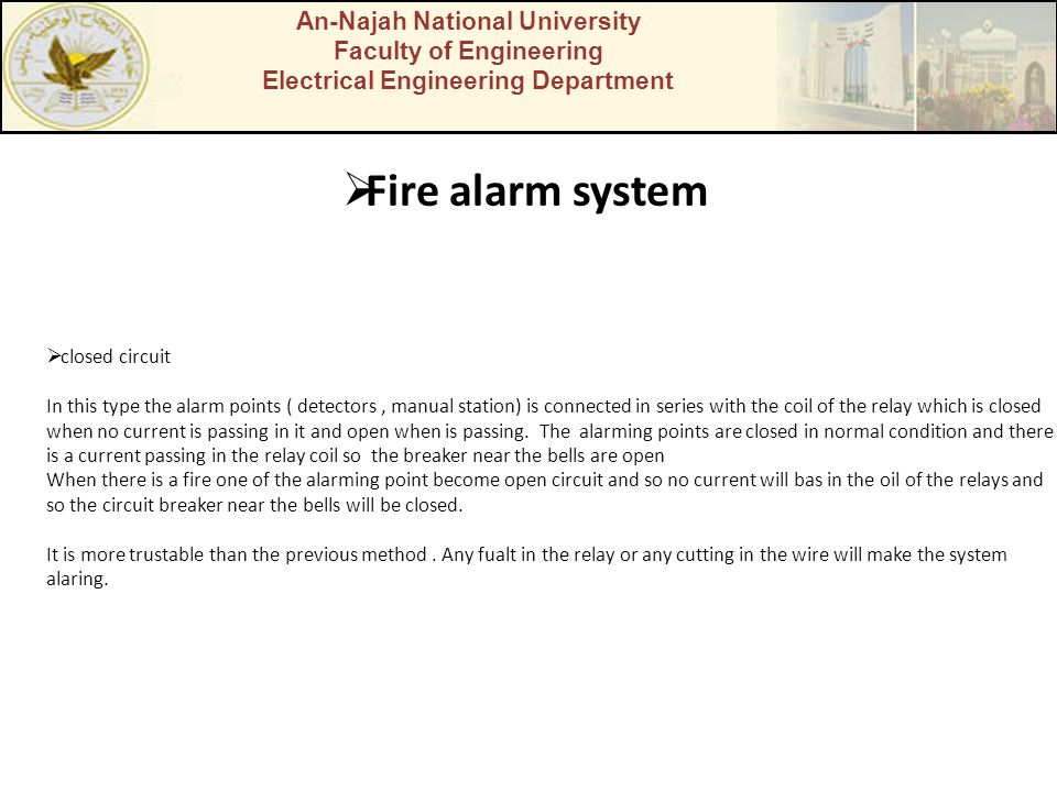 Fire alarm system An-Najah National University Faculty of Engineering