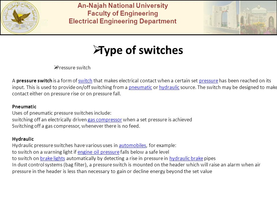 Type of switches An-Najah National University Faculty of Engineering