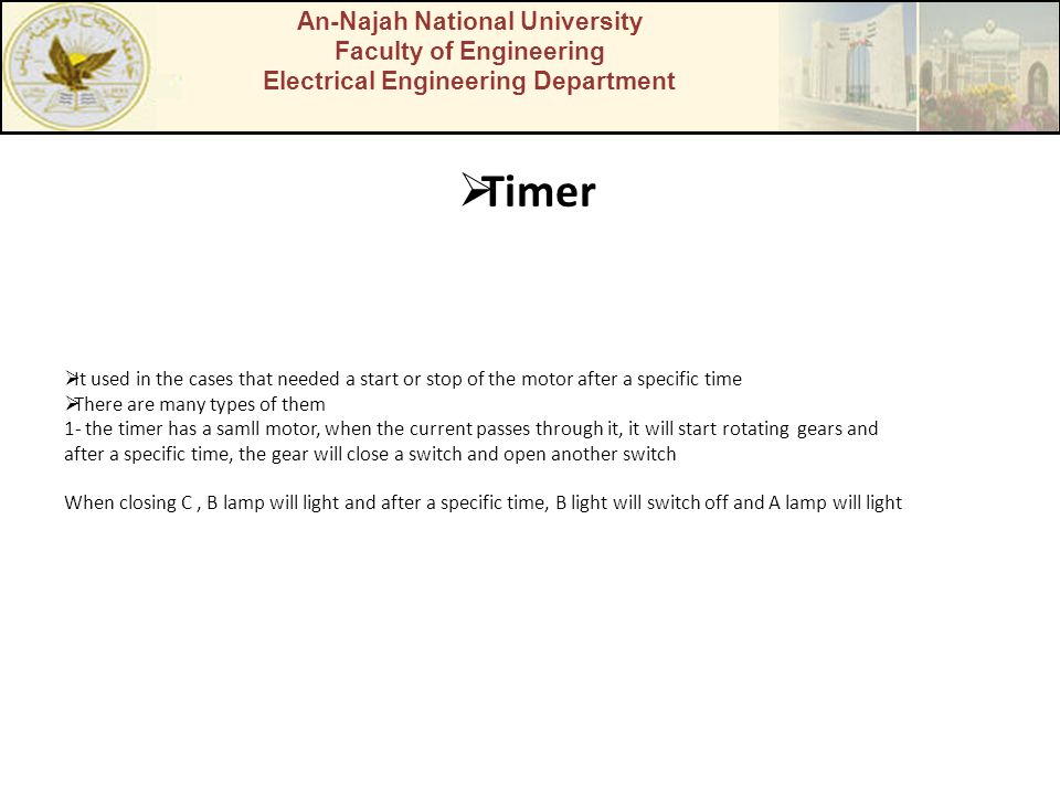 Timer An-Najah National University Faculty of Engineering