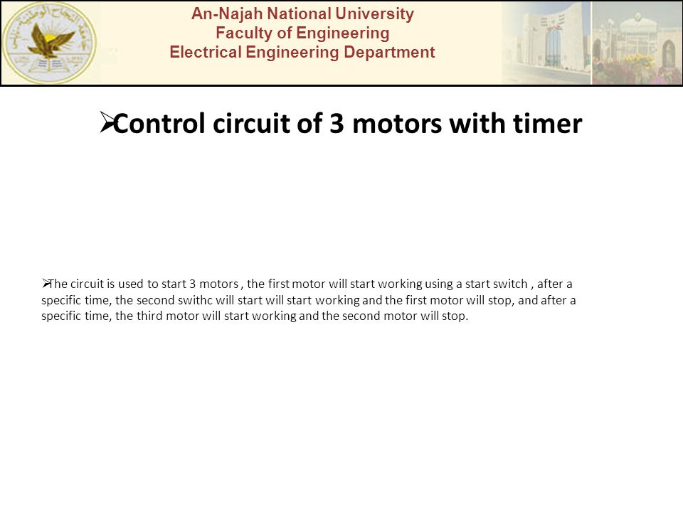 Control circuit of 3 motors with timer