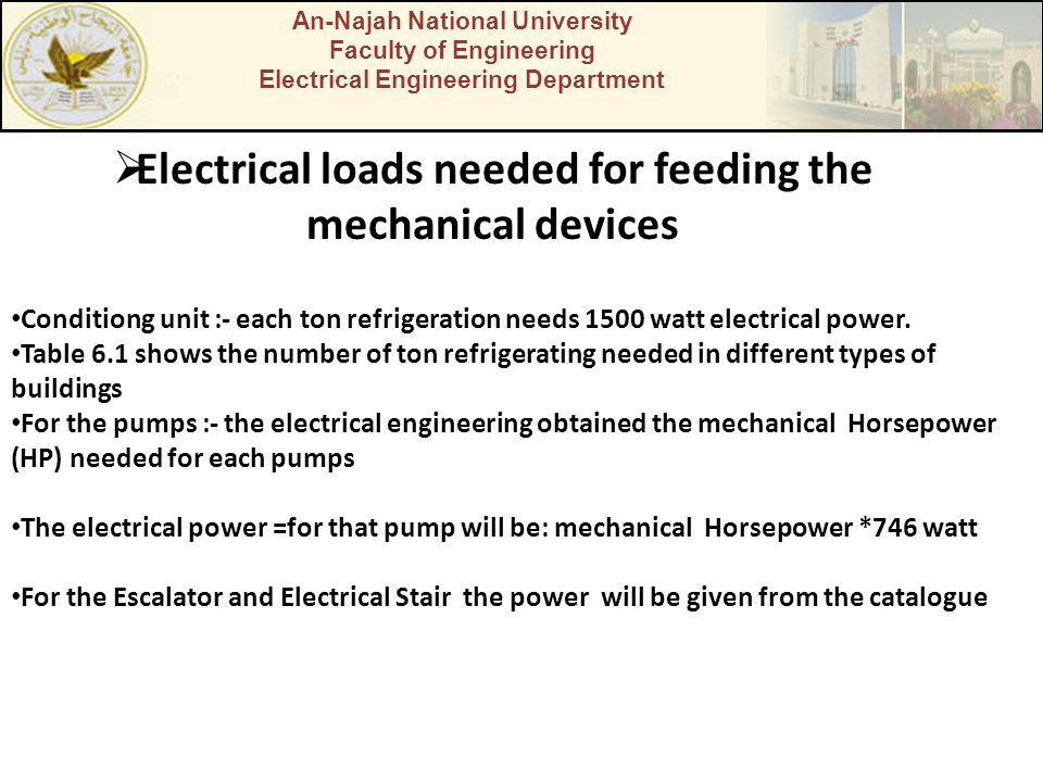 Electrical loads needed for feeding the mechanical devices