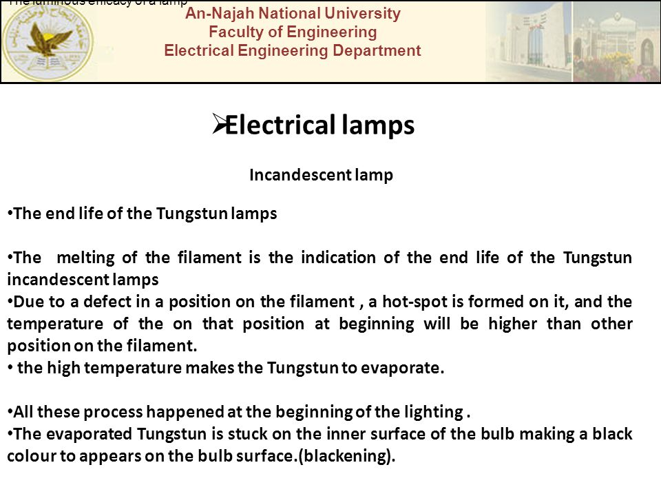 Electrical lamps Incandescent lamp The end life of the Tungstun lamps