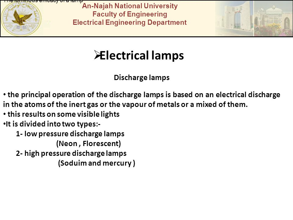 Electrical lamps Discharge lamps