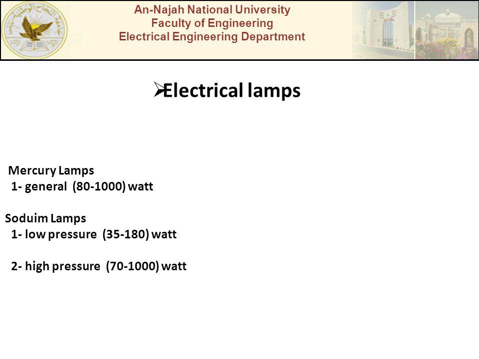 Electrical lamps Mercury Lamps 1- general (80-1000) watt Soduim Lamps