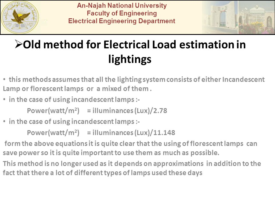 Old method for Electrical Load estimation in lightings