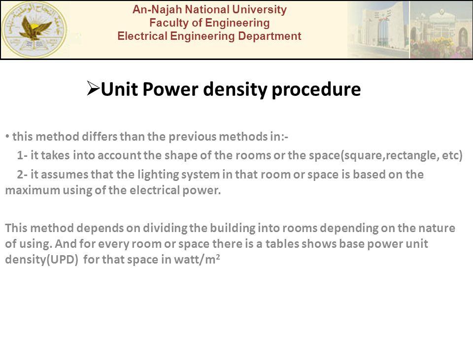 Unit Power density procedure