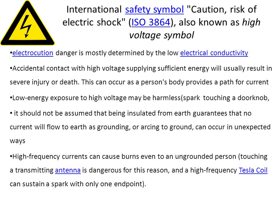 International safety symbol Caution, risk of electric shock (ISO 3864), also known as high voltage symbol