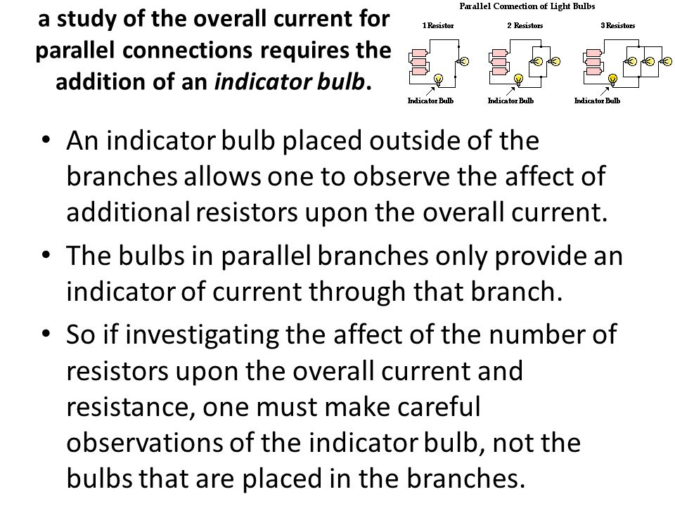 a study of the overall current for parallel connections requires the addition of an indicator bulb.