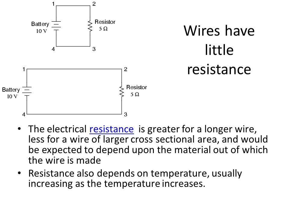 Wires have little resistance