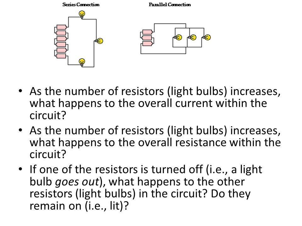 As the number of resistors (light bulbs) increases, what happens to the overall current within the circuit