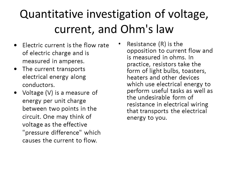 Quantitative investigation of voltage, current, and Ohm s law