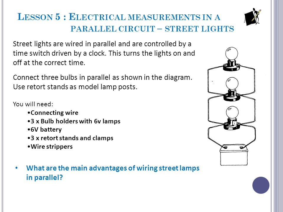 Lesson 5 : Electrical measurements in a parallel circuit – street lights