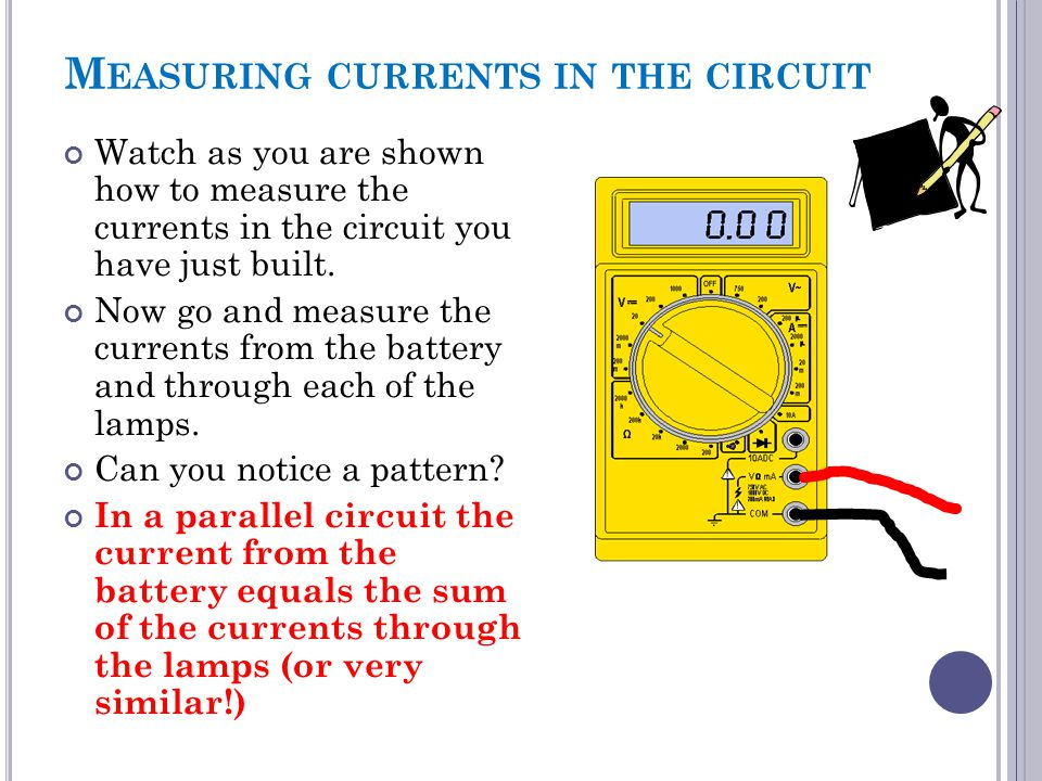 Measuring currents in the circuit