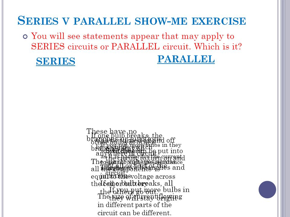Series v parallel show-me exercise