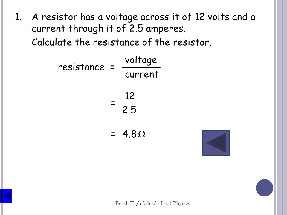 Calculate the resistance of the resistor.