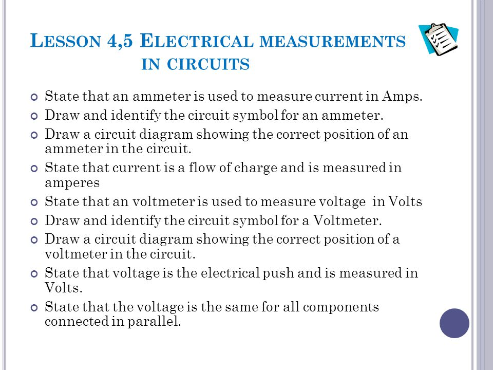 Lesson 4,5 Electrical measurements in circuits