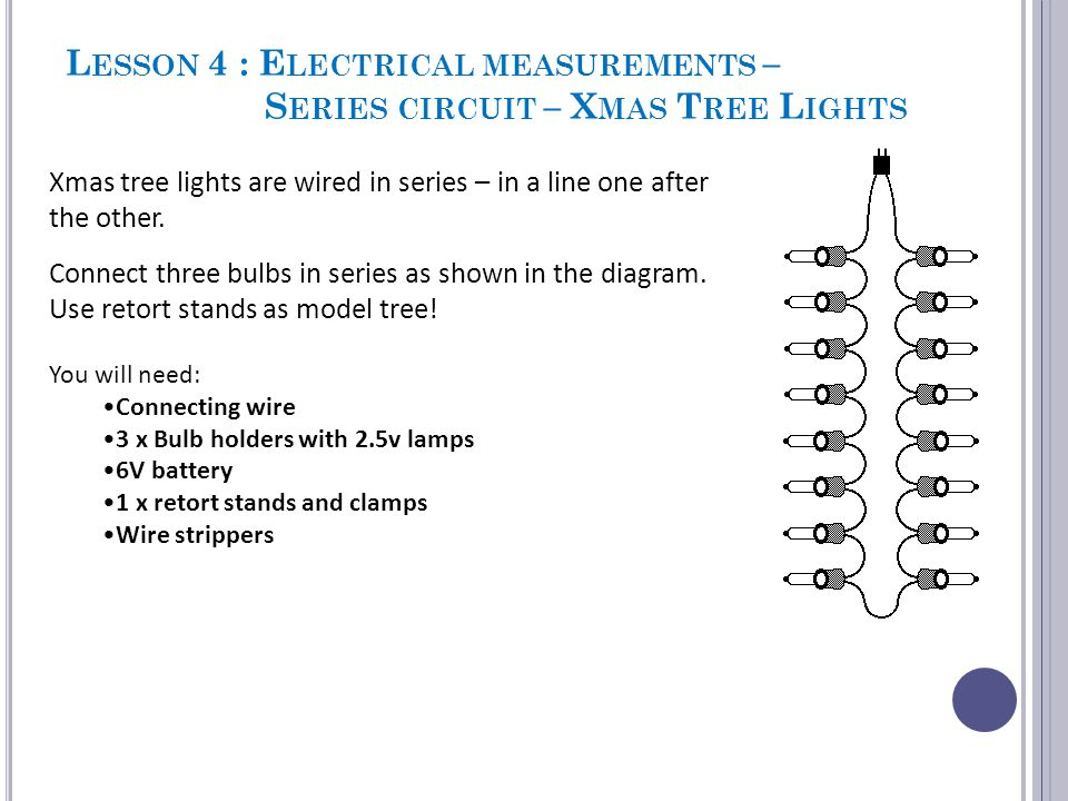 Lesson 4 : Electrical measurements – Series circuit – Xmas Tree Lights