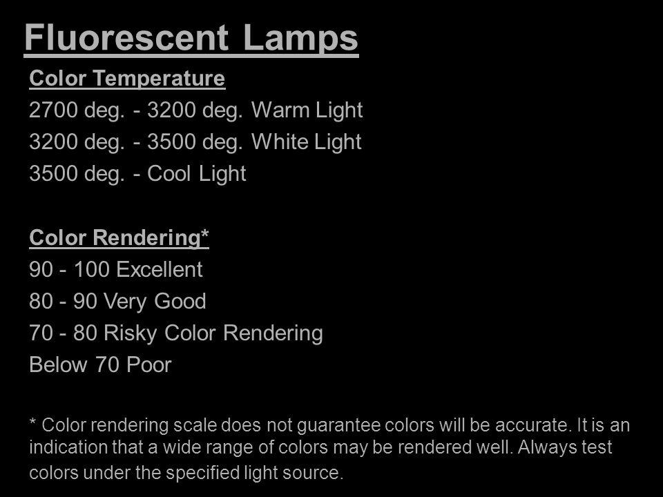 Fluorescent Lamps Color Temperature 2700 deg. - 3200 deg. Warm Light