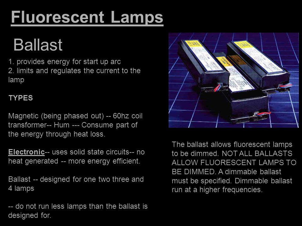 Fluorescent Lamps Ballast 1. provides energy for start up arc
