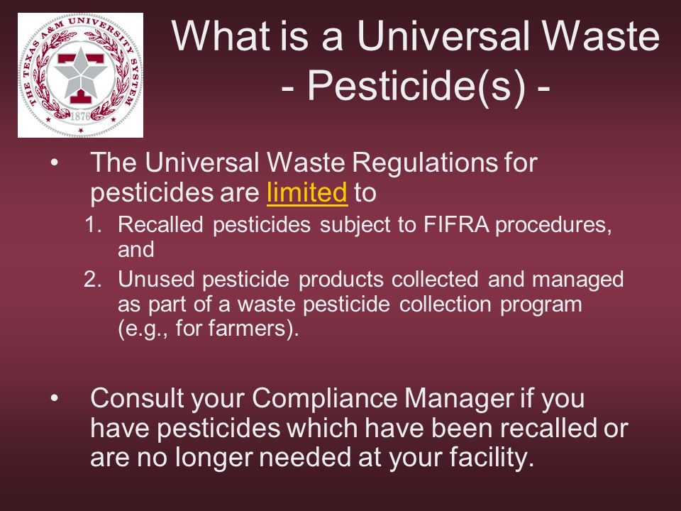 What is a Universal Waste - Pesticide(s) -