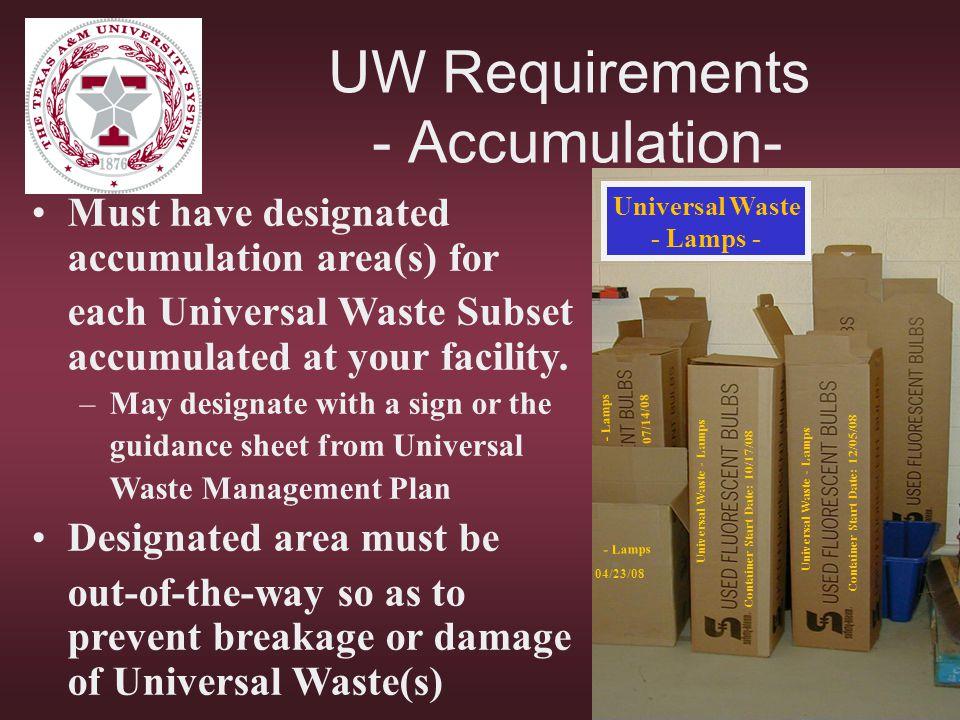 UW Requirements - Accumulation-
