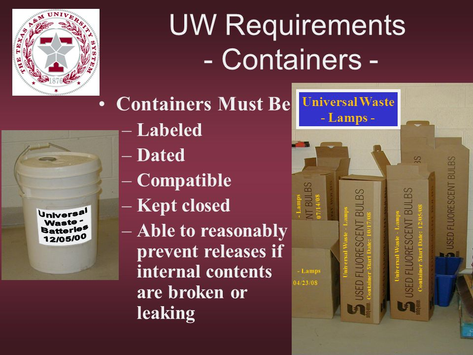 UW Requirements - Containers -
