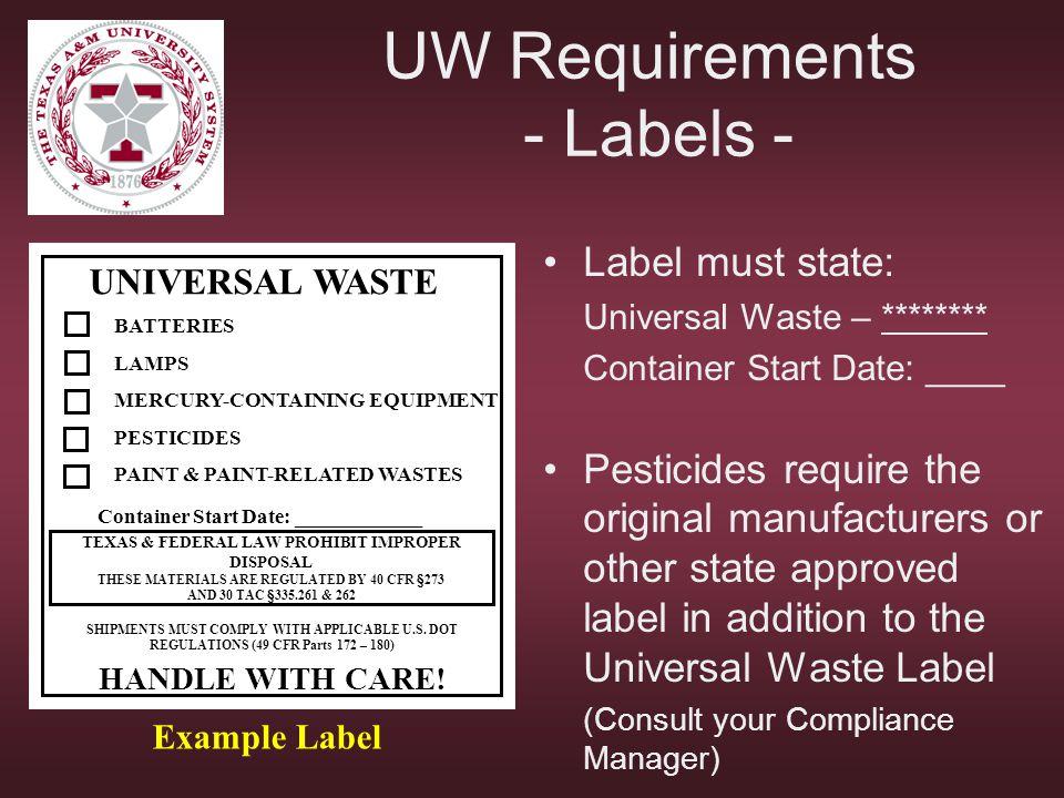 UW Requirements - Labels -