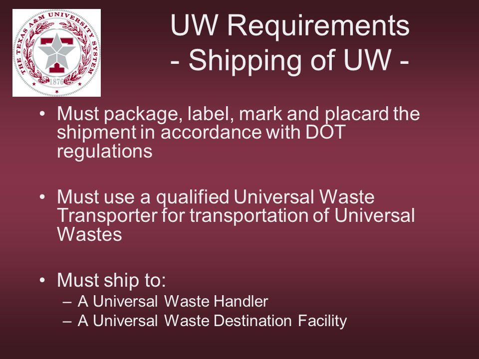 UW Requirements - Shipping of UW -