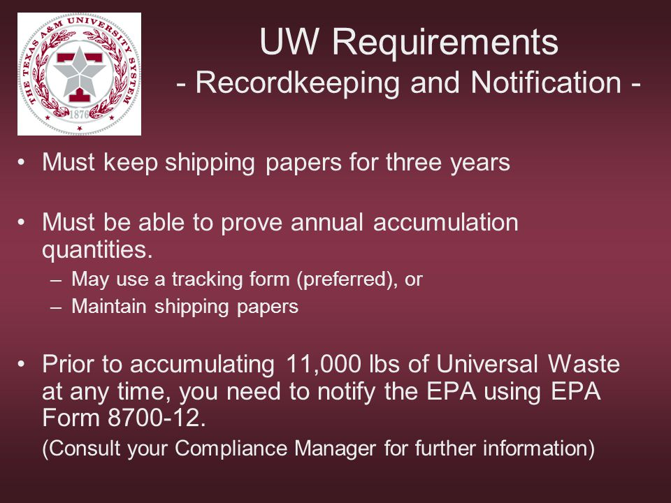 UW Requirements - Recordkeeping and Notification -