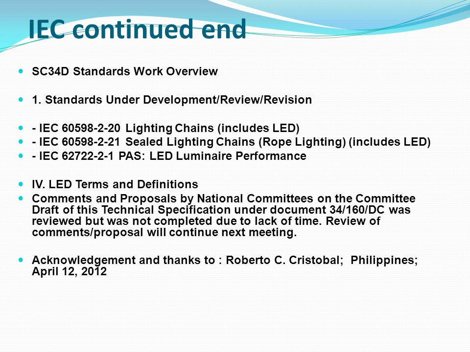 IEC continued end SC34D Standards Work Overview