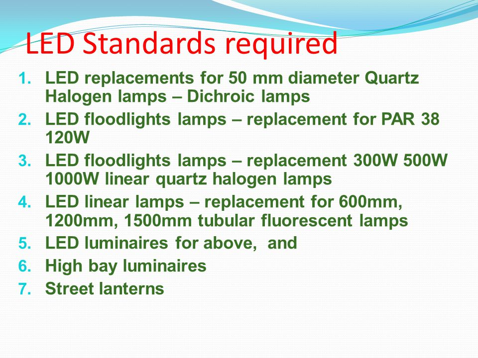 LED Standards required