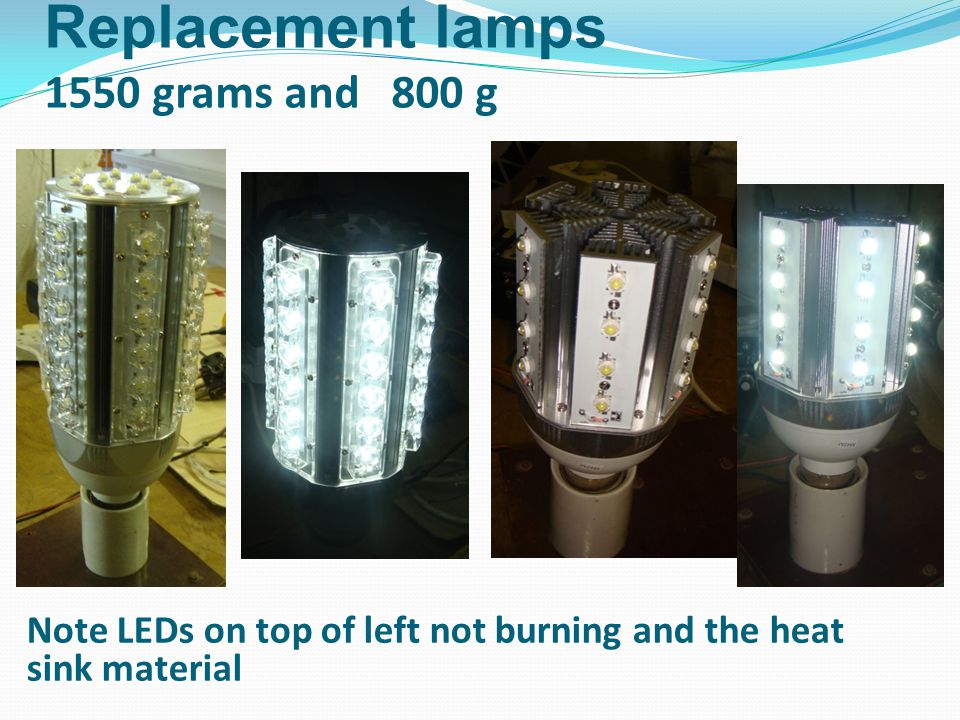 Replacement lamps 1550 grams and 800 g