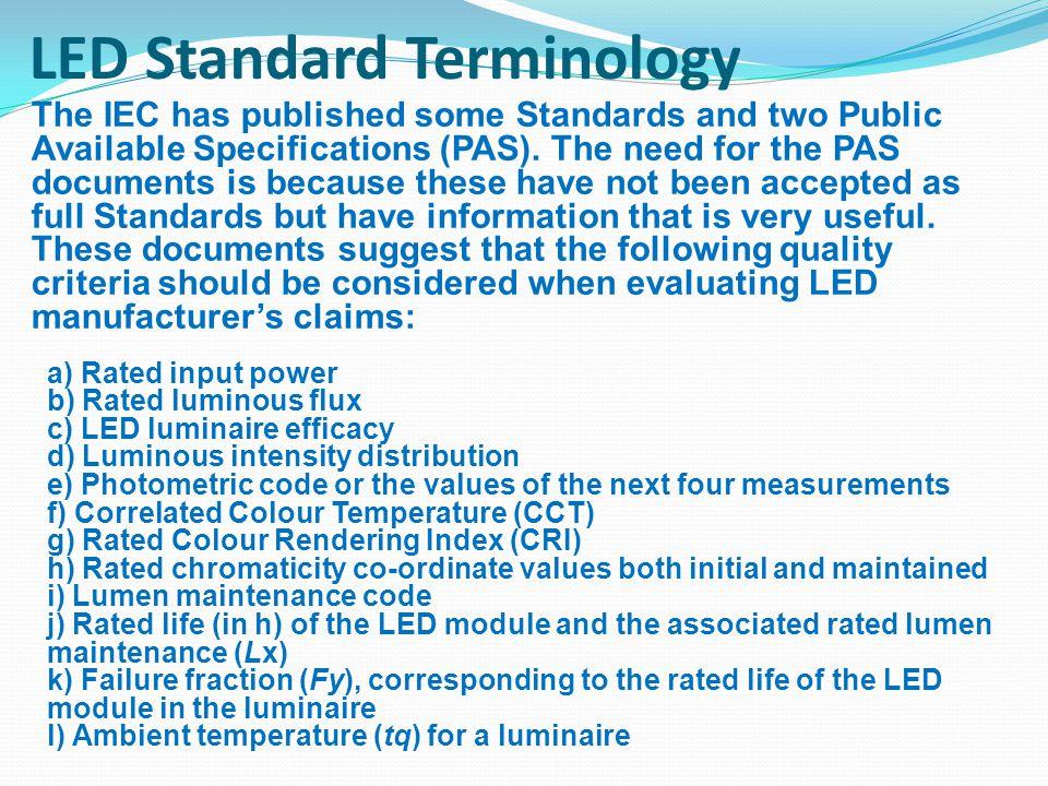 LED Standard Terminology