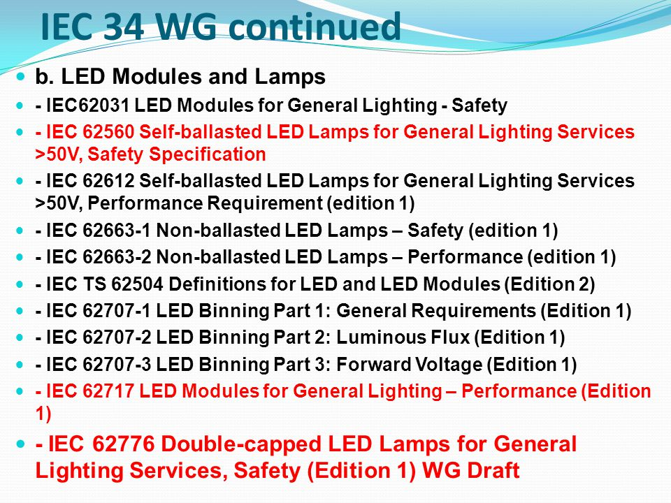 IEC 34 WG continued b. LED Modules and Lamps