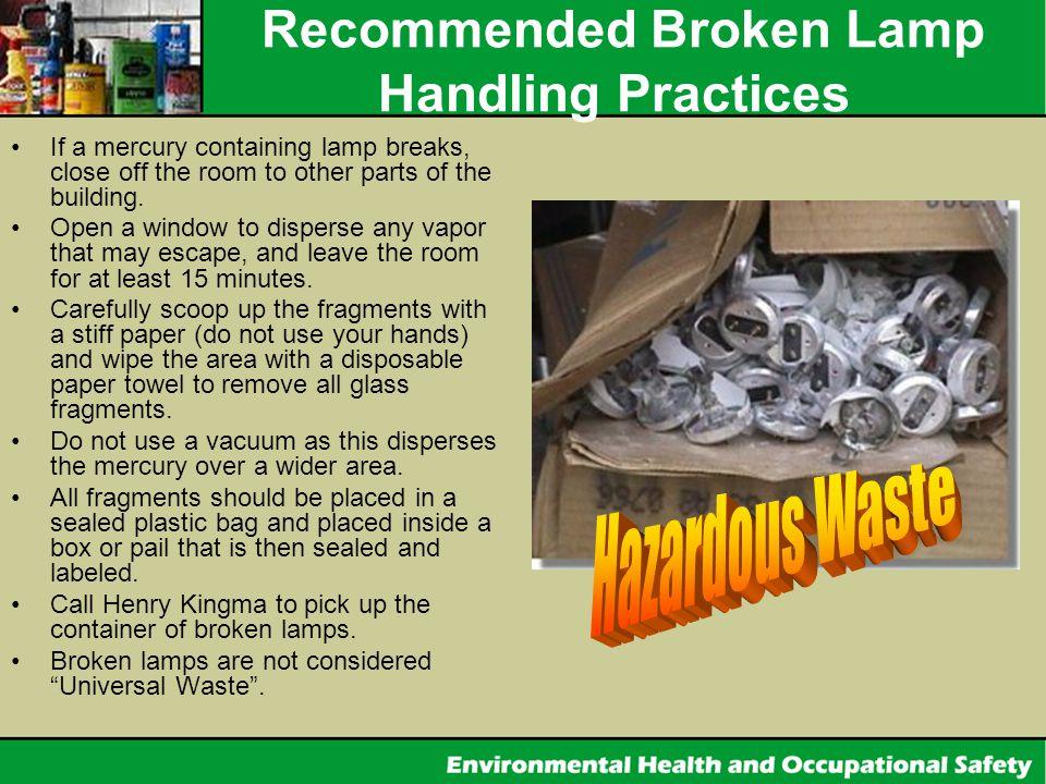 Recommended Broken Lamp Handling Practices