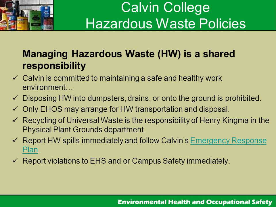 Calvin College Hazardous Waste Policies