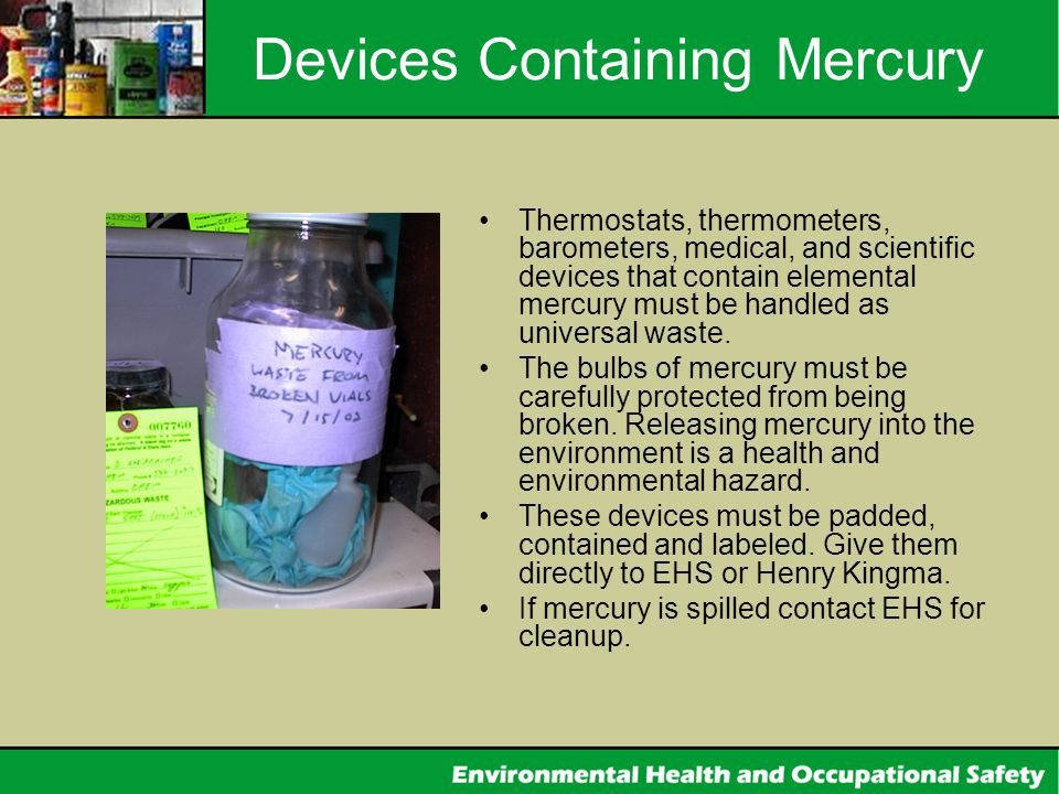 Devices Containing Mercury