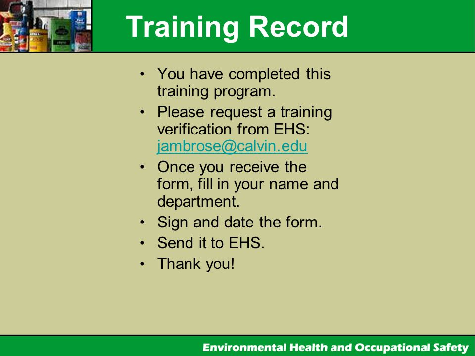 Training Record You have completed this training program.