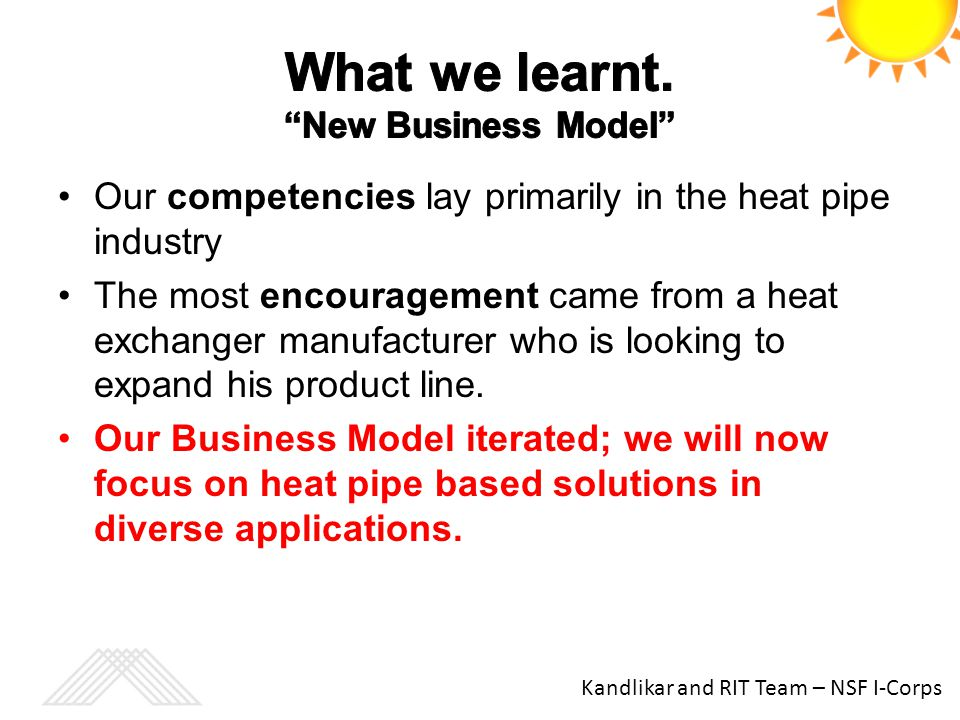 What we learnt. New Business Model