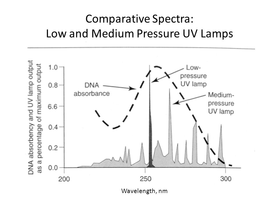 Comparative Spectra: Low and Medium Pressure UV Lamps