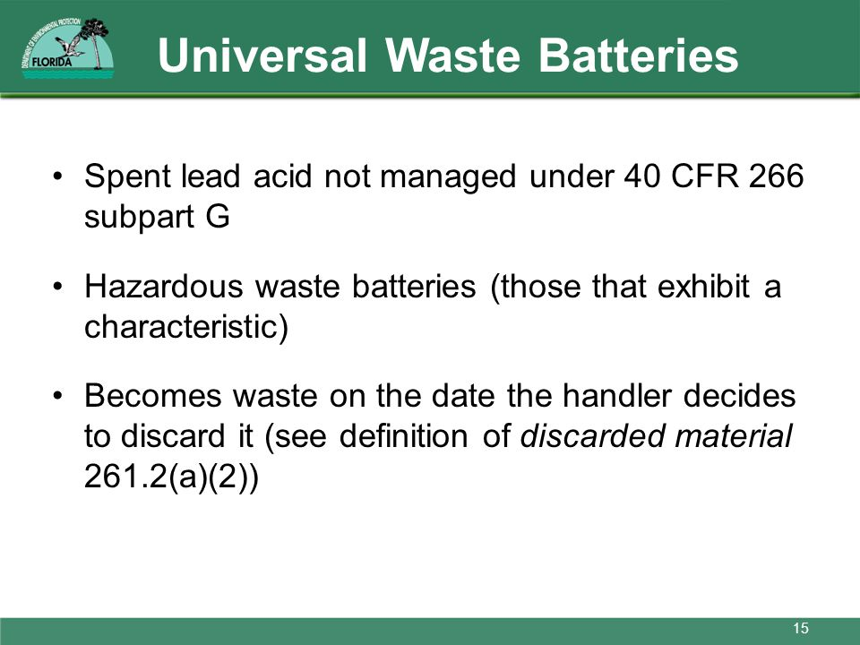 Universal Waste Batteries