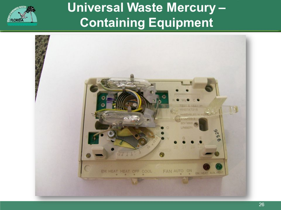 Universal Waste Mercury – Containing Equipment