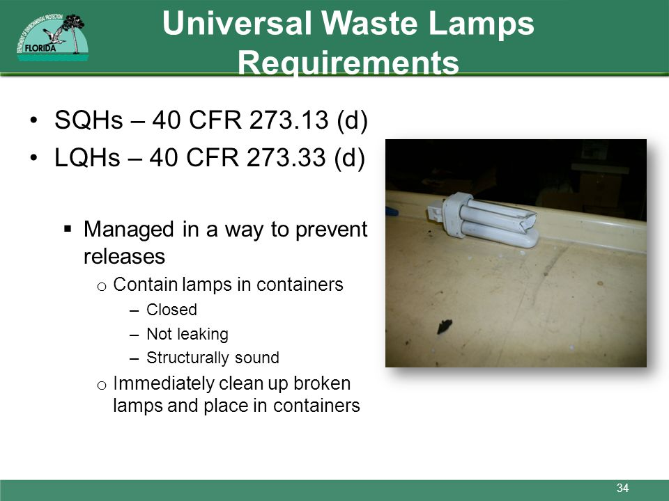 Universal Waste Lamps Requirements
