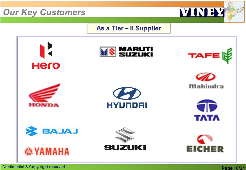 Our Key Customers As a Tier – II Supplier Page 10/24