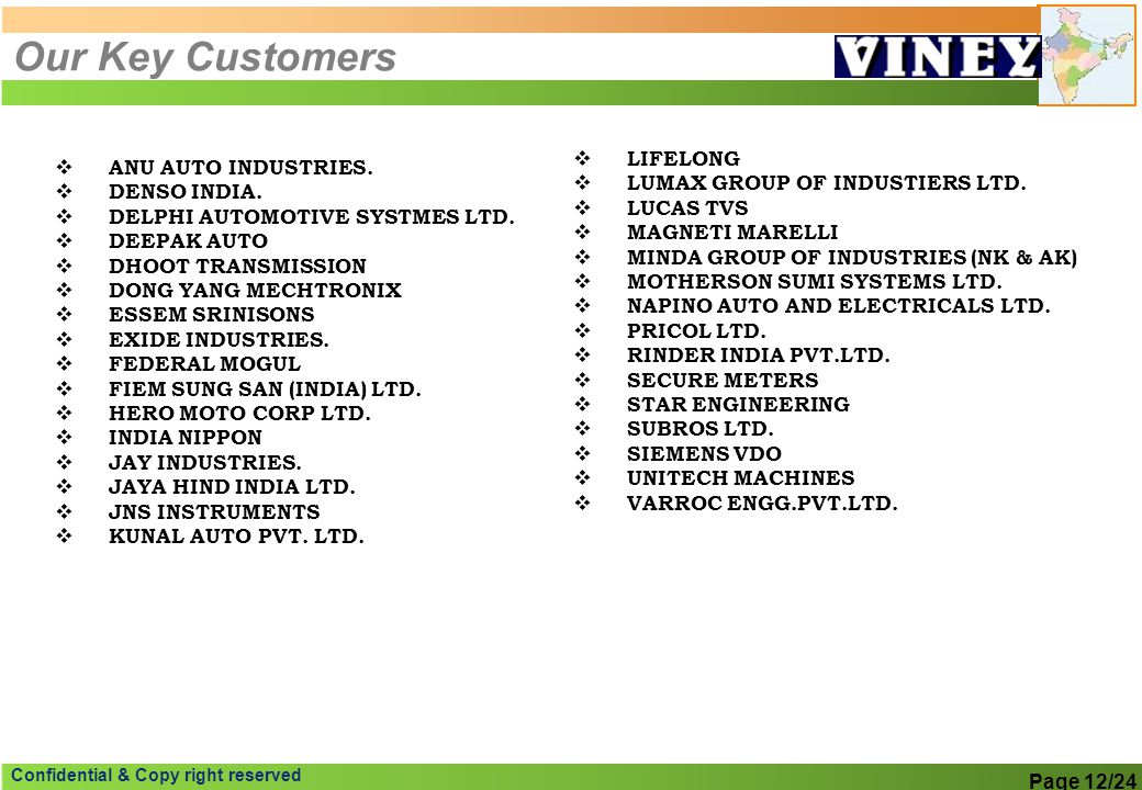 Our Key Customers LIFELONG ANU AUTO INDUSTRIES.