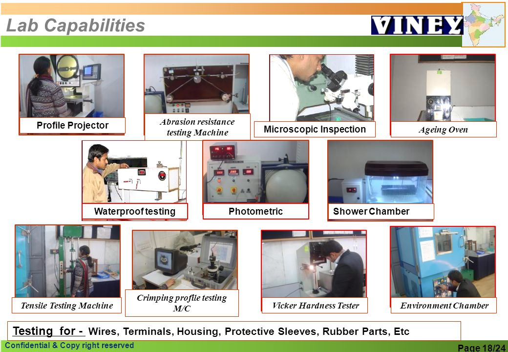 Lab Capabilities Abrasion resistance testing Machine. Profile Projector. Microscopic Inspection. Ageing Oven.