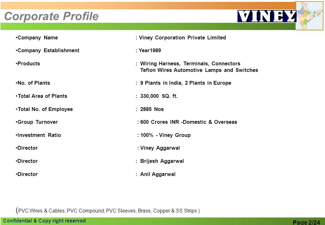 Corporate Profile Company Name : Viney Corporation Private Limited. Company Establishment : Year1989.