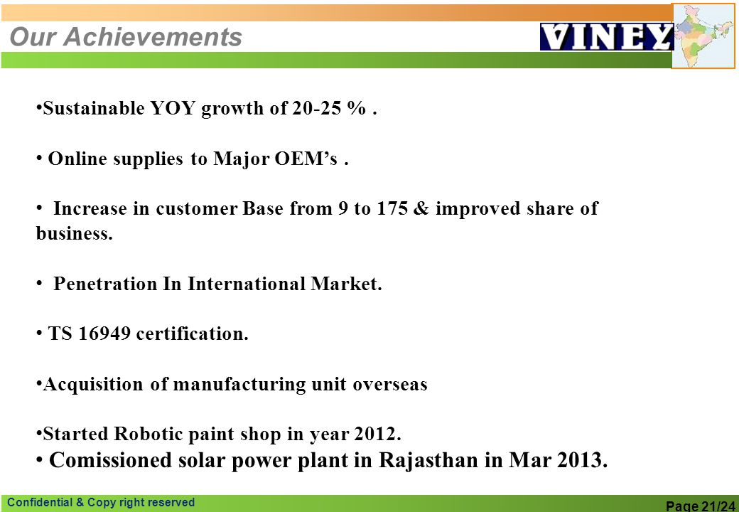 Our Achievements Sustainable YOY growth of % . Online supplies to Major OEM's .