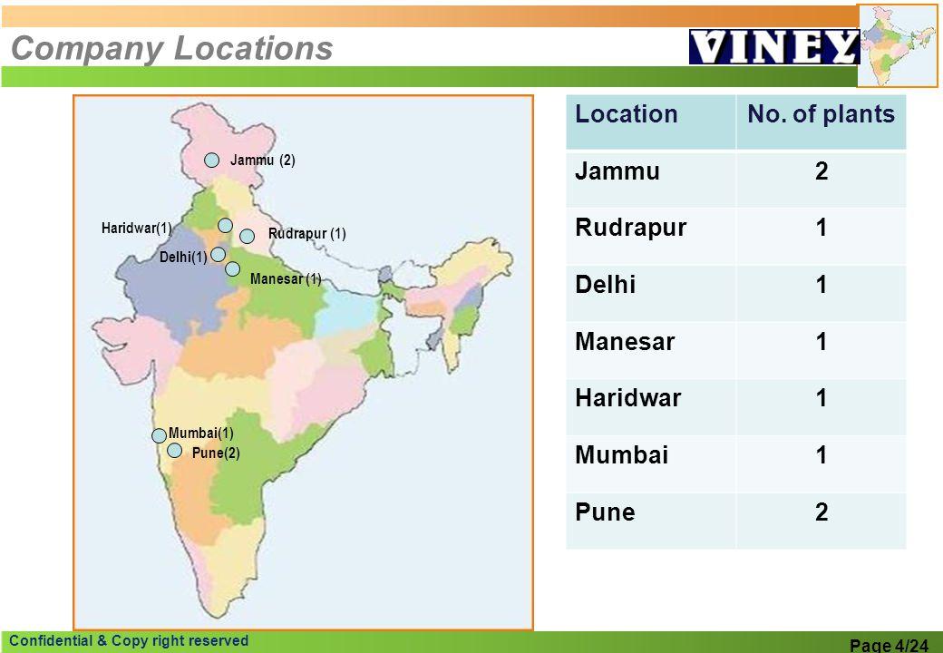 Company Locations Location No. of plants Jammu 2 Rudrapur 1 Delhi